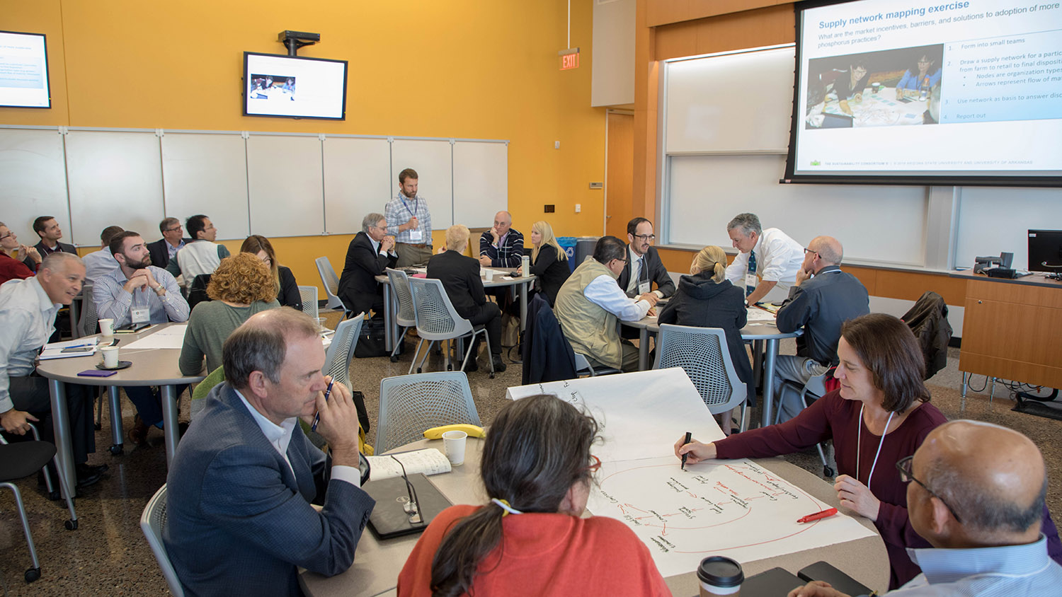 People work together at a Sustainable Phosphorus Alliance event